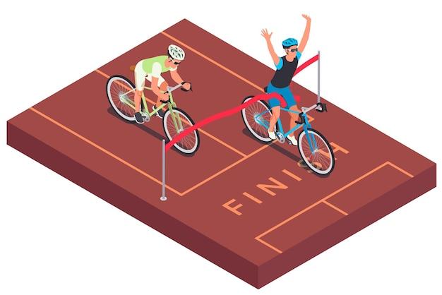 Изометрическая композиция с видом на гоночную трассу с финишной чертой с красной лентой и гонщиками