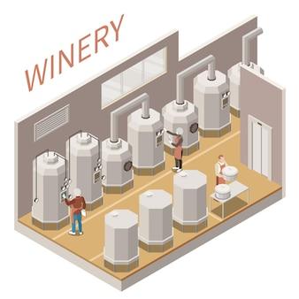 ワインの製造プロセスの図と等尺性の構成