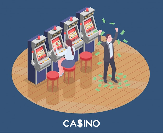 Isometric composition with woman playing slot machine game and man won money in casino 3d