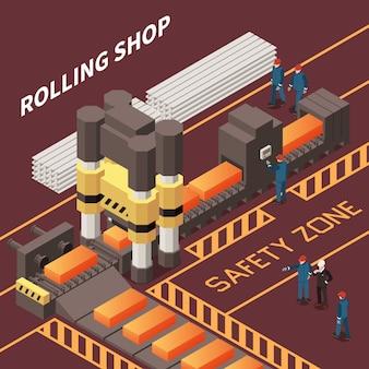 Изометрическая композиция с работниками в прокатном цехе в металлургическом заводе 3d векторная иллюстрация