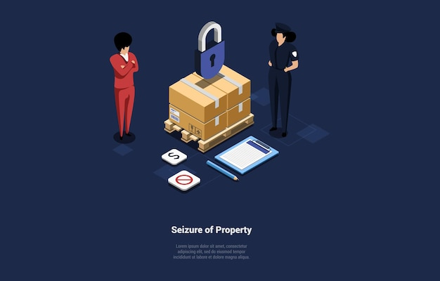 Isometric composition with writings cardboard parcel under lock object two characters standing near