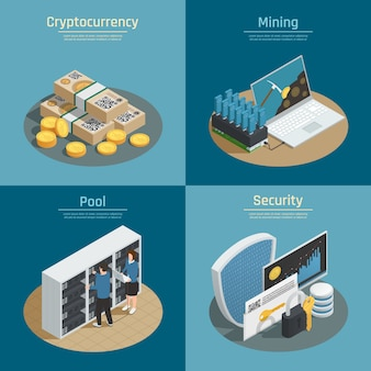 Isometric compositions with mining of cryptocurrency, coins and banknotes, pool of system users, security isolated