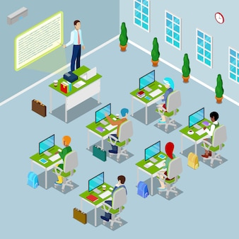 Isometric computer classroom with teacher and students on lection.