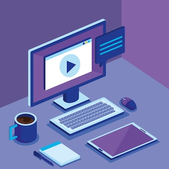 Isometric computer desktop digital technology