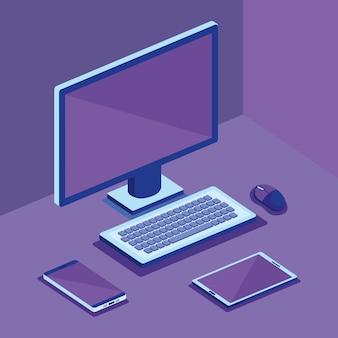 Изометрическая компьютерная настольная цифровая технология