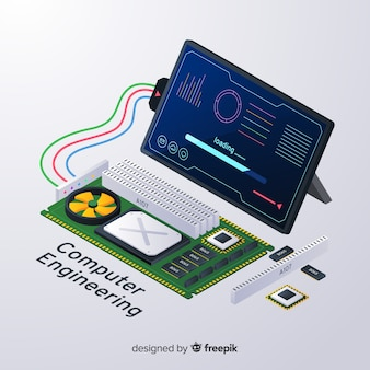 Isometric computer engineering background