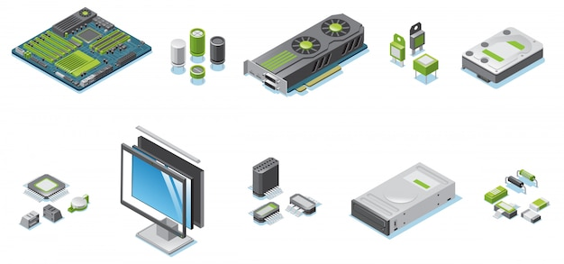 Isometric computer hardware parts set with monitor and system unit electronic components and details isolated