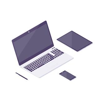 Изометрические компьютер, ноутбук, планшет, иллюстрация