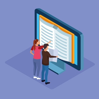 Isometric  of computer with book on screen and man and woman standing over purple background