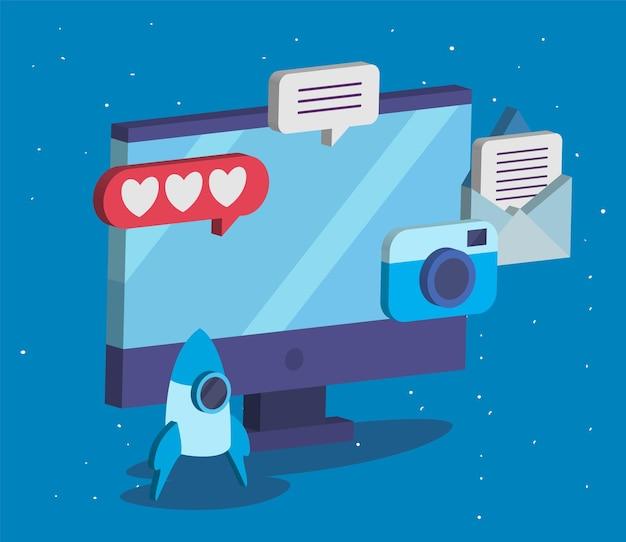 ソーシャルメディアアイコンコレクションデザイン、マルチメディア通信、デジタルを備えたアイソメトリックコンピューター