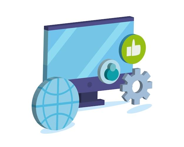 ソーシャルメディアアイコンセットデザイン、マルチメディア通信、デジタルテーマを備えたアイソメトリックコンピューター