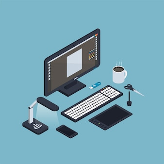 Isometric computer workplace composition
