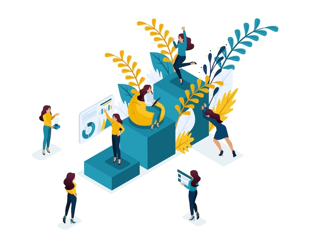 Isometric concept achievement of the goal, moving up the career ladder, self-education is your contribution to your future. concept for web