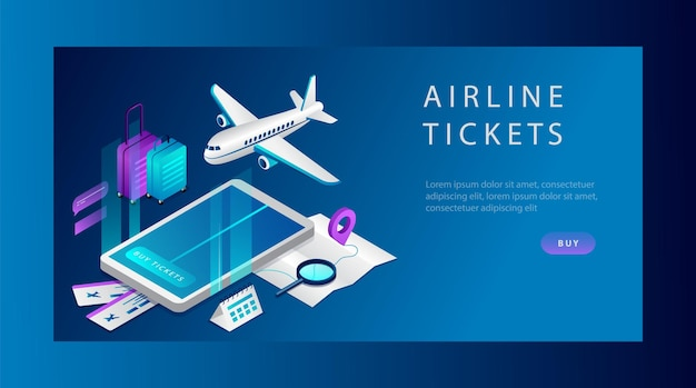 Isometric concept of airline tickets for business and travel. banner template