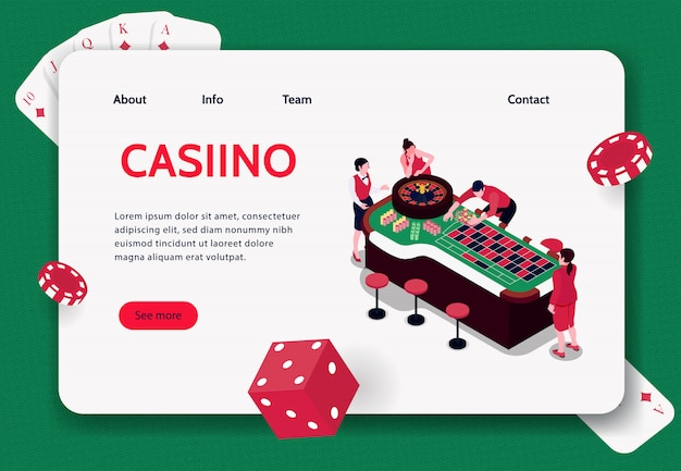 Isometric concept banner with people playing roulette in casino 3d  illustration