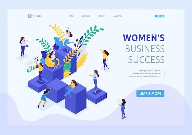 Изометрические концепция карьеры лестница для женщин, успех в большом бизнесе. деловая леди преуспевает. целевая страница шаблона сайта