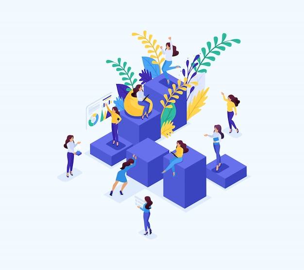 Isometric concept career ladder for women, success in big business. business lady succeeds. concept for web