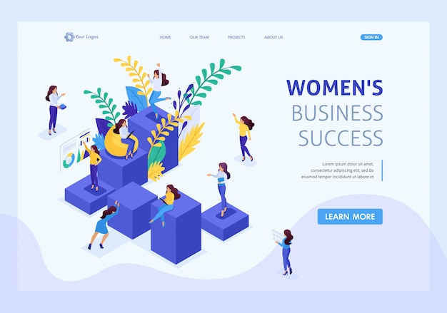Isometric concept career ladder for women, success in big business. business lady succeeds. website template landing page