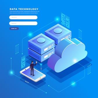 等尺性概念クラウドテクノロジーデータ転送とストレージ。接続情報。イラスト。