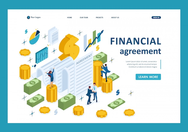Isometric concept of creating a financial agreement, partners conclude an agreement landing page