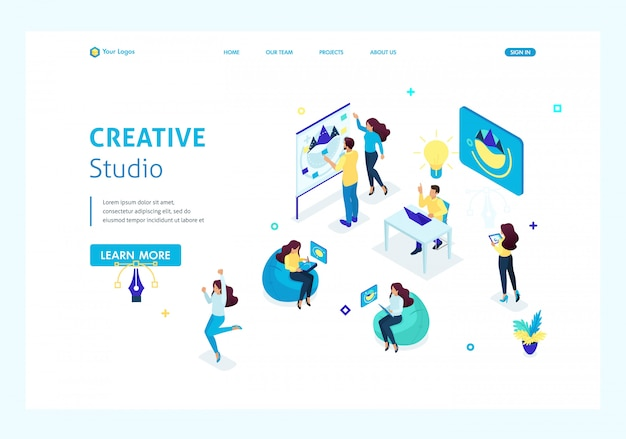Isometric concept creative studio, employees creating ideas and . teamwork of creative people. website template landing page