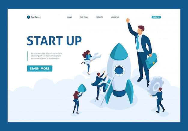 Isometric the concept development and startup business. businessmen create a rocket. website template landing page