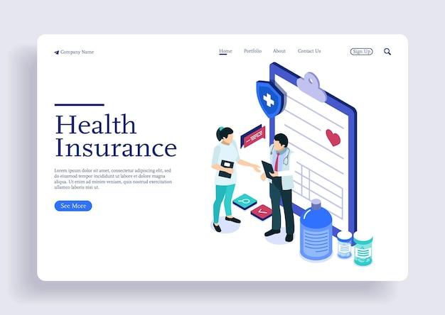 患者の健康保険契約について話し合う等尺性の概念の医師と看護師