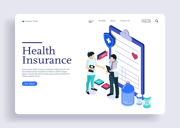 Isometric concept doctor and nurse discussing about patients health insurance policy