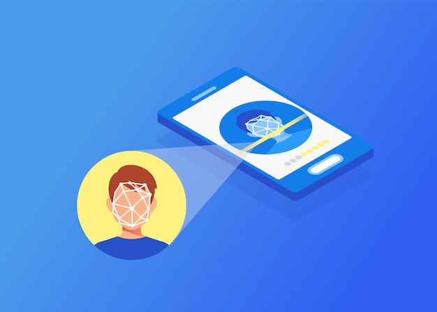 Isometric concept of face identification of young man.