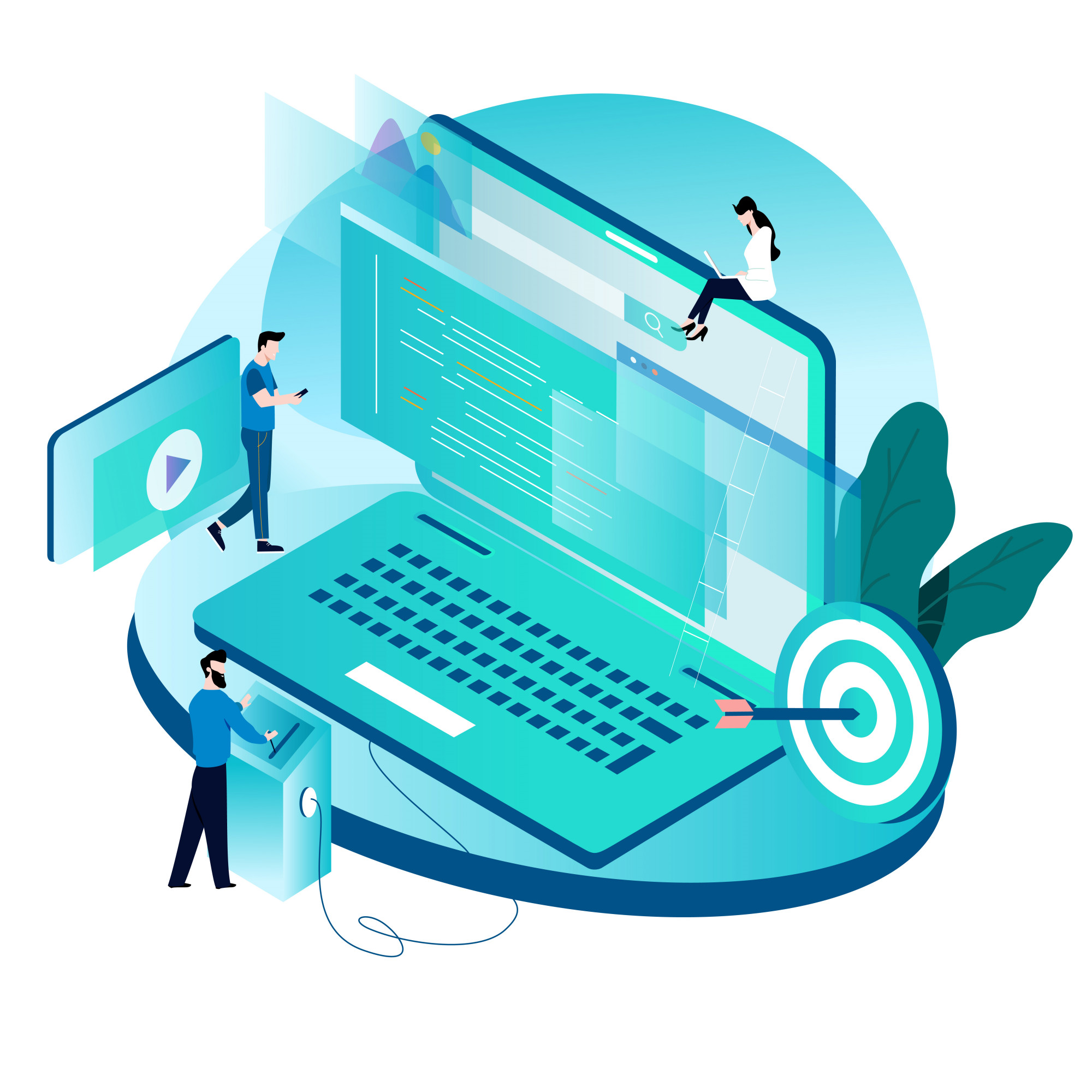 Isometric concept for coding, programming, website and application development