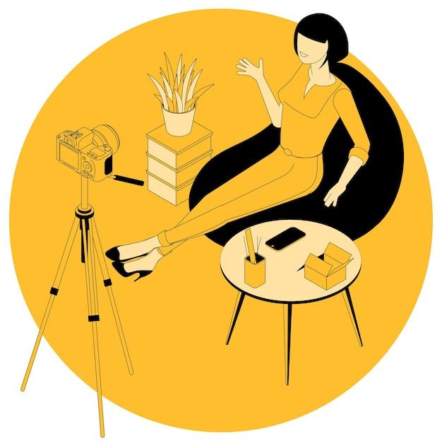 ファッションと美容のブログとマーケティング、教育、ウェビナー、チュートリアルプロジェクトのアイソメトリックコンセプト