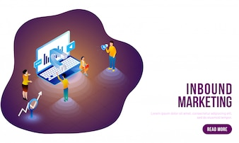 Isometric concept for Inbound Marketing.