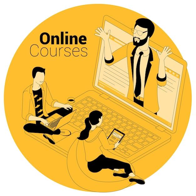 Изометрическая концепция для онлайн-курсов, образования, обучения, обучения и видеоуроков.