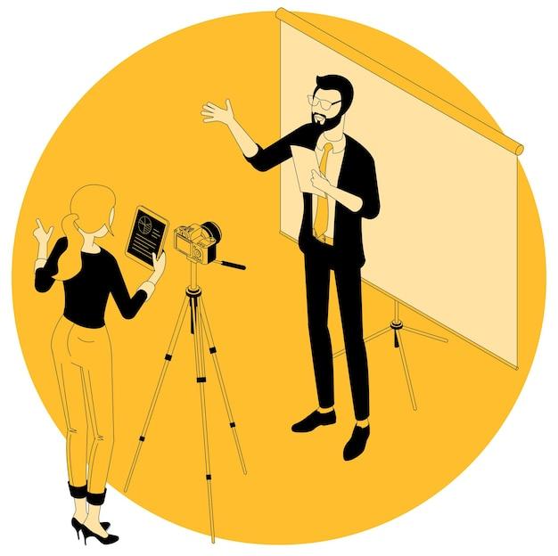 비디오 블로깅 및 마케팅, 교육, 웨비나 및 튜토리얼 프로젝트를위한 아이소 메트릭 개념