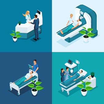 Isometric concept hospital, medical mri scan, operating room with doctors, fluorography process, surgeon office, diagnostics private clinic
