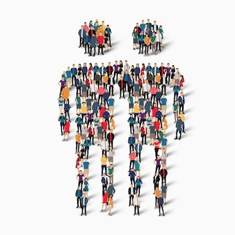 Изометрические концепции иллюстрации многолюдных людей