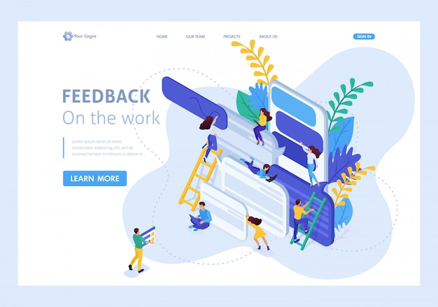 Isometric concept internet users write feedback about services. website template landing page