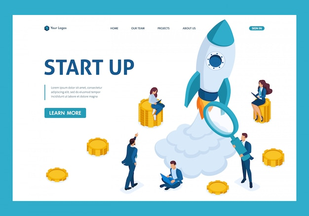 Isometric concept of investing in startups, rocket launch, young entrepreneurs landing page