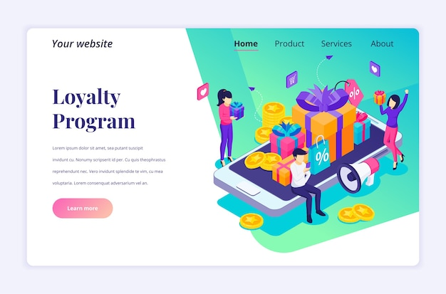 Isometric  concept of loyalty marketing, people near big smartphone, discount and loyalty card