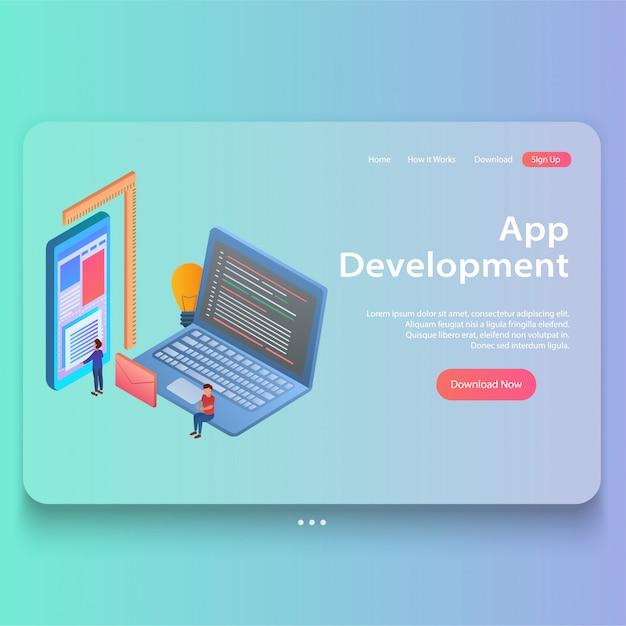 Isometric concept of mobile app development