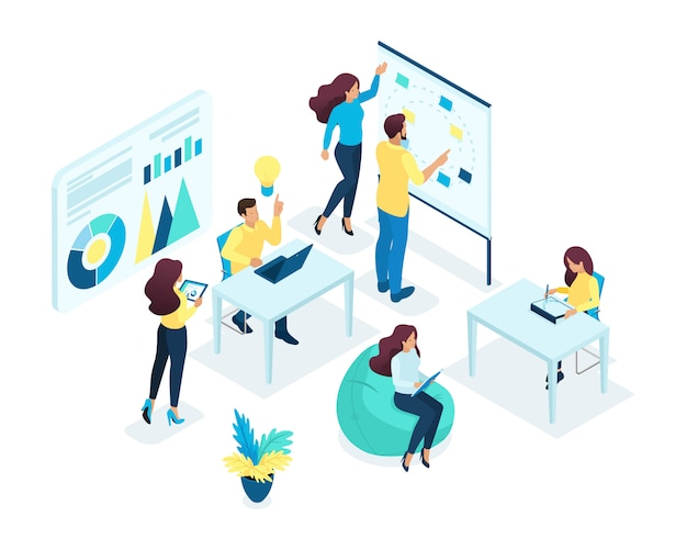Изометрические концепция молодой команды, коллективная работа, разработка бизнес-идей, мозговой штурм, запуск. концепция сети