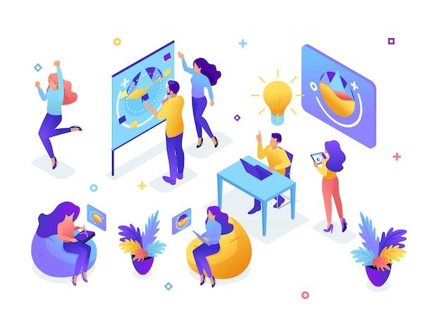 Изометрические концепция молодой команды, работа в команде, создание идей, сотрудники развивают, мозговой штурм, запуск. концепция веб-дизайна