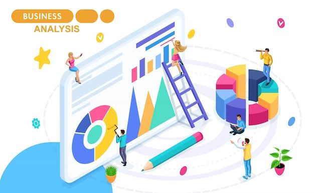 データ収集と分析、統計収集とレポートの等尺性概念。動きの等尺性の人々。 webバナーと印刷物の概念