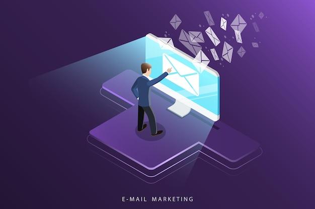 Изометрическая концепция электронного маркетинга, рекламной кампании, цифрового продвижения.
