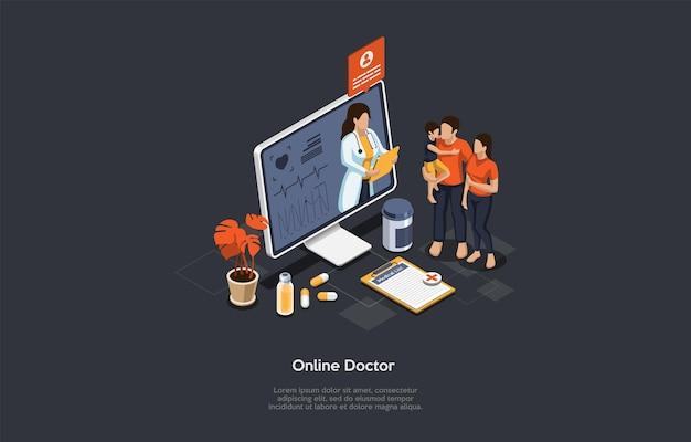 Изометрические концепция здравоохранения, онлайн-врач и медицинские консультации. семья на приеме у врача онлайн. онлайн-медицинская поддержка с женщиной-врачом на экране. векторные иллюстрации шаржа.