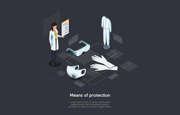 바이러스 감염 보호, 의료 및 의학 수단의 아이소 메트릭 개념. 여성 약사는 얼굴 보호 마스크와 양복, 고글 고무 장갑 근처에 서 있습니다. 만화 벡터 일러스트 레이 션.