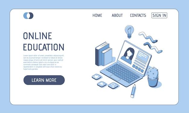 ウェブサイトとモバイルウェブサイトのオンライン教育の等尺性の概念ランディングページテンプレートの図