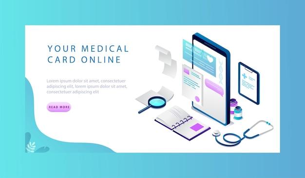 Изометрические концепция онлайн-медицинской карты