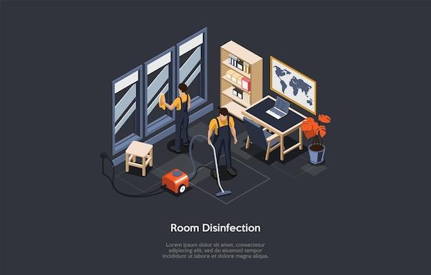 Изометрические концепция дезинфекции комнаты, очистки от вредителей. люди в специальных рабочих костюмах пользуются пылесосом и дезинфицирующим средством, дезинфицируют комнату, кабинет от вирусов. векторные иллюстрации шаржа.