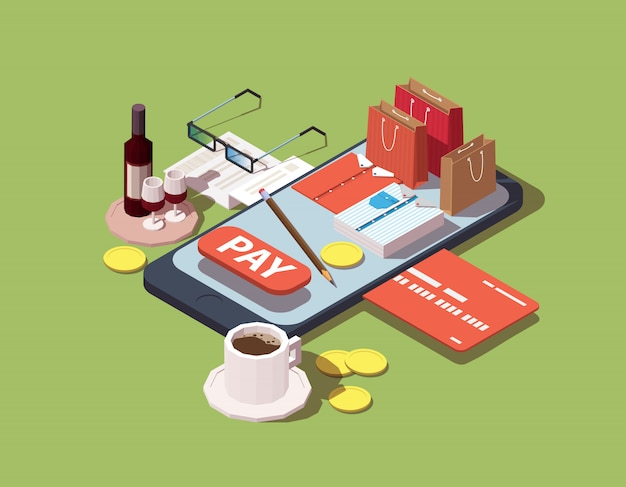 Isometric concept of online shopping